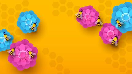 Fototapeta Emty paper cut flower bee spring background