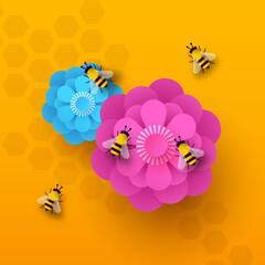 Fototapeta Spring flower bee paper cut illustration concept