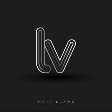 initial logo LV colored black and white with striped composition and lowercase, Vector logo design template elements for your business or company identity.