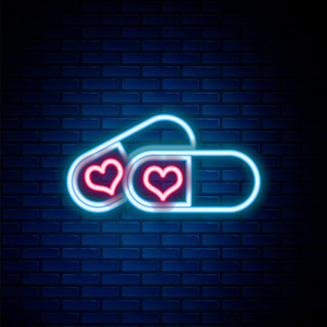 Glowing neon line Pills for potency, aphrodisiac icon isolated on brick wall background. Sex pills for men and women. Colorful outline concept. Vector