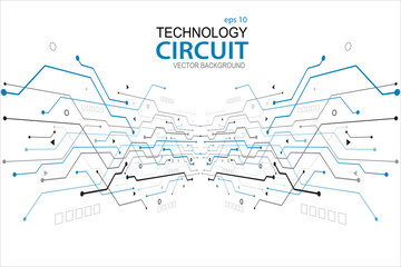 Abstract futuristic circuit board Illustration, Circuit board with various technology elements. Circuit board pattern for technology background. Vector illustration
