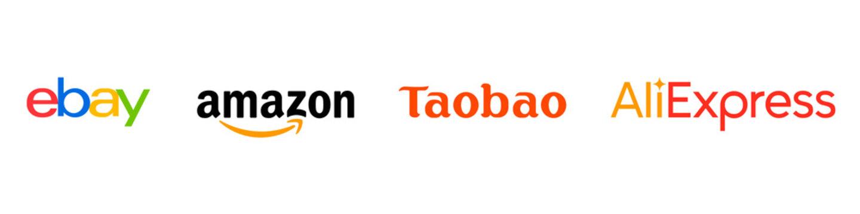Ebay, Amazon, Taobao, Aliexpress. A set of popular online stores. HAISYN, UKRAINE - APRIL 2, 2021