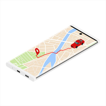 GPS navigator, navigation city map. Navigation concept with pin pointer