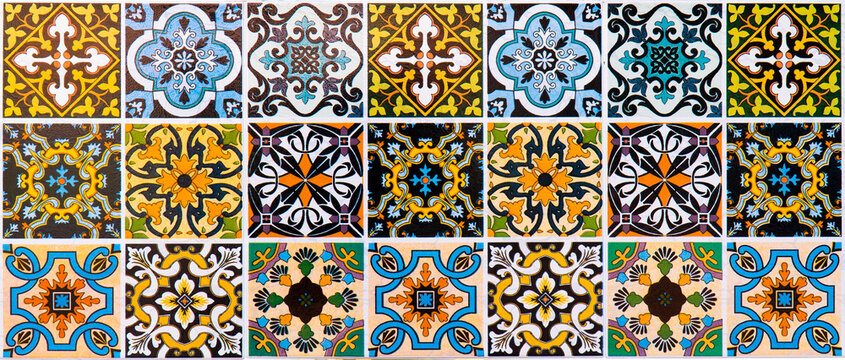 panoramic colorful ceramic tiles texture background. Panorama multicolor striped ceramic glazed tile morocco design style