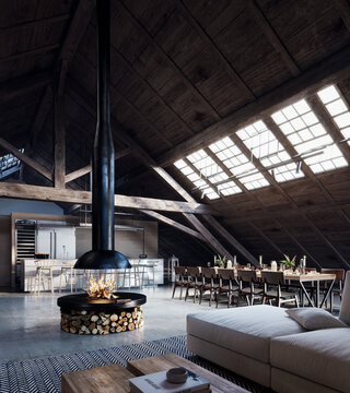 Modern mountain house interior with fireplace in the middle 3D Rendering, 3D Illustration