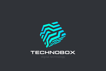 Fototapeta Box Logo Cube abstract design Virtual RealityTechnology vector template linear style. Neural network Artificial intelligence AI internet web Logotype concept icon.