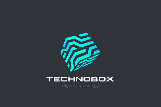 Box Logo Cube abstract design Virtual RealityTechnology vector template linear style. Neural network Artificial intelligence AI internet web Logotype concept icon.