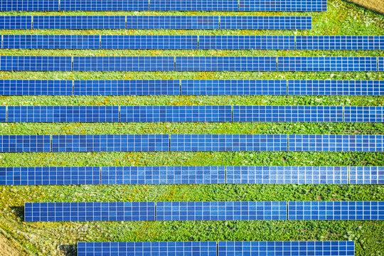 Alternative energy in Poland. Solar panels on field. Renewable energy.