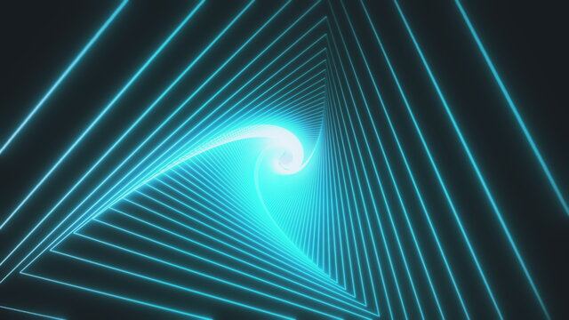 Animation for music videos, nightclubs, LED screens, projection shows, video mapping, audiovisual performances. 3d rendering Loop animation Futuristic tunnel with neon lights, blue shaped triangle.