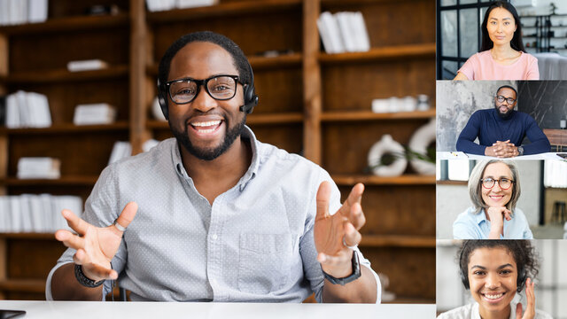 Online business training concept. Smart and confident African-American coach leading video conference, holding courses online. Multiethnic manager talks with employees online. Video screen, video call