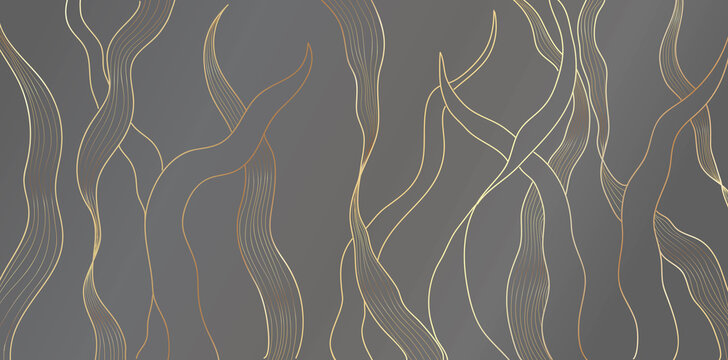 Luxury gold floral pattern on gray background. Underwater sea plants golden line leaves . Split-leaf plant abstract arts, Vector