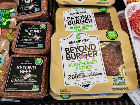 AUGUSTA, GEORGIA - APRIL 2, 2021 : Beyond Meat - Beyond Burgers on grocery store freezer shelf. Beyond Meat is a Los Angeles based producer of plant-based meat substitutes.
