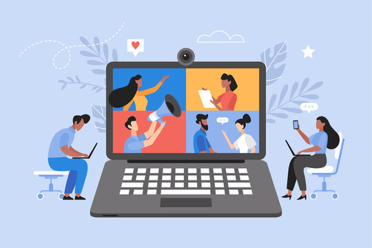 Online business meeting, and video conference concept.  Teamwork thinking and brainstorming vector illustration