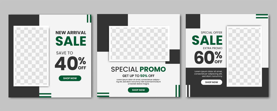 Set of Fashion sale promo social media post template design banner with black color style. good for online business promotion vector