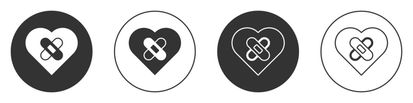 Black Healed broken heart or divorce icon isolated on white background. Shattered and patched heart. Love symbol. Valentines day. Circle button. Vector
