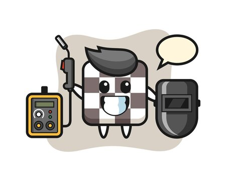 Character mascot of chess board as a welder