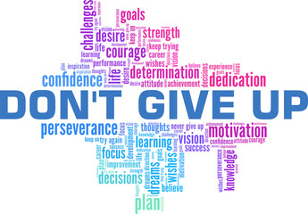 Fototapeta Don't give up vector illustration word cloud isolated on a white background. obraz