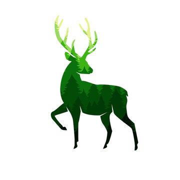 Silhouette of a deer with antlers deer