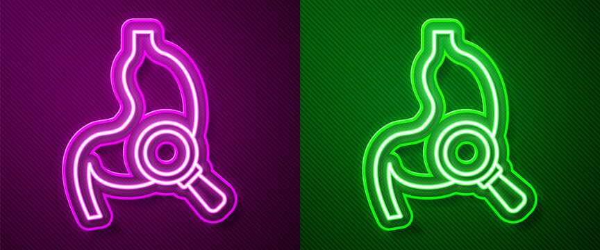 Glowing neon line Human stomach with magnifying glass icon isolated on purple and green background. Vector
