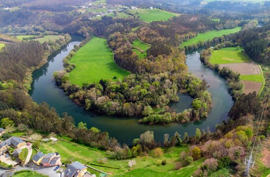 Aerial view of the meanders of the Navia river.
