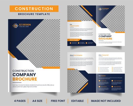 Construction bifold brochure design template with yellow and black color geometric shapes Premium Vector ads