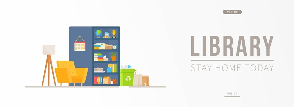 Vector illustration of moving into a new home. Gathering all the things in boxes and bags. Closet, lamp, flower. Site for ordering the service of buying a new house or apartment.