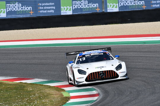 Scarperia, 25 March 2021: Mercedes-AMG GT3 of Team Zakspeed Team driven by Kireev-Stolyarov-Shaytar in action during 12h Hankook Race at Mugello Circuit in Italy.
