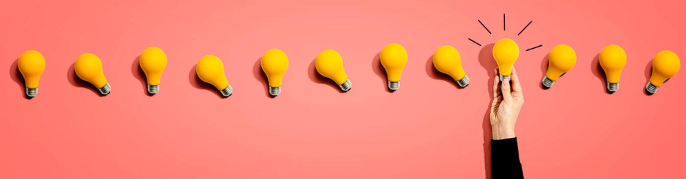 Many yellow light bulbs