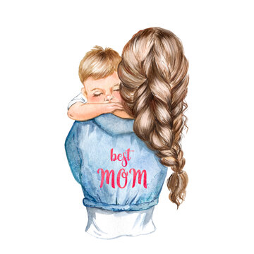 Watercolor illustration of a brown-haired mom with a small child in her arms, fashion illustration of a mom with a baby
