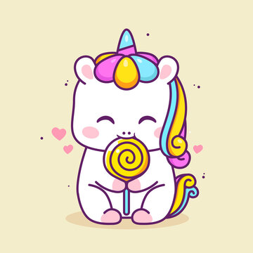 cute happy unicorn eating lolipop