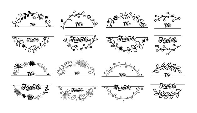 Wildflower wreaths and frames with Family lettering set. Space for surname. Vector stock illustration for poster or card