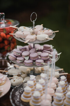 Candy bar on wedding with beautiful french purple macarons and handmade ice cream