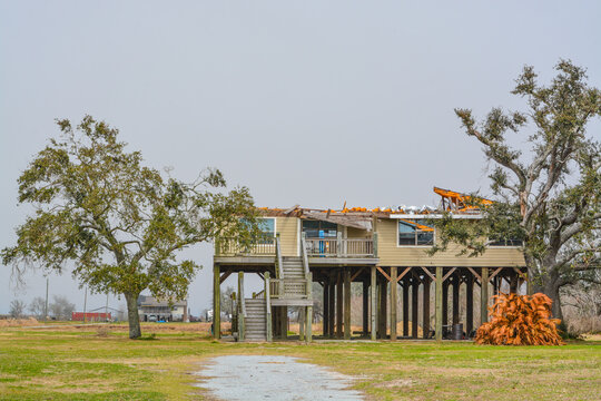 Powerful Hurricane Laura, removed the roof and destroyed this house at Cameron in Cameron Parish, Louisiana