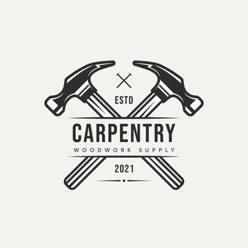 cross hammer carpentry vintage logo template vector illustration design. retro classic woodwork, lumberjack, workshop icon logo concept