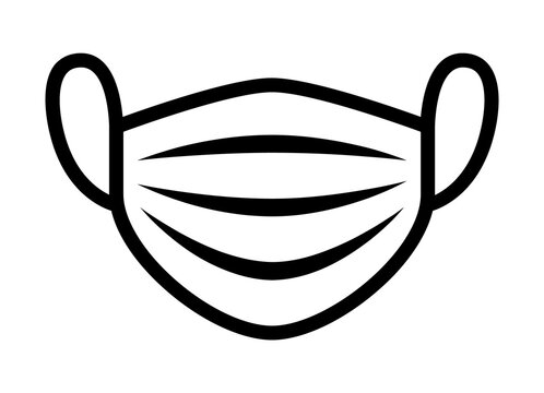 Medical face mask or surgical facemask protection from COVID-19 with folds line art vector icon for apps and websites