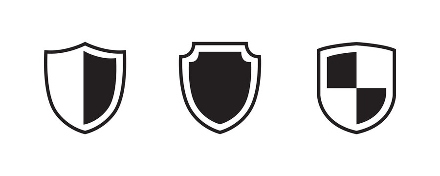 Shield, protect, defend, safeguard, guard icon set. Vector graphic illustration. Suitable for website design, logo, app, template, and ui.