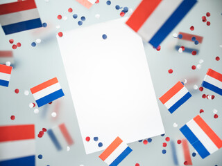 Fototapeta Netherlands King's birthday, liberation day. flags on a foggy background. The concept of freedom, patriotism and memory. National Unity and Solidarity Day. mockup