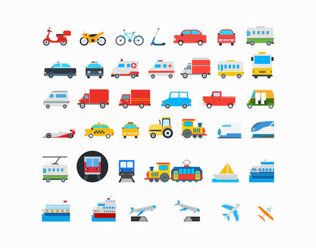 All Transport Vector Icons Set. Transportation, Logistics, Delivery, Shipping, Railway, Airways, Ambulance, Emergency car symbols, emojis, emoticons, flat style vector illustration icons collection