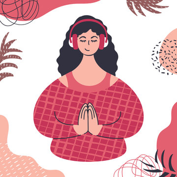 Audio guided meditation. Young caucasian woman relaxing in headphones.