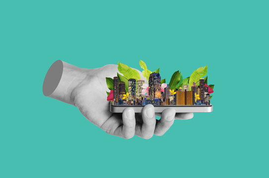 Digital collage modern art. Hand holding modern buildings with leaves and flower