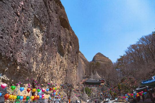 "Mt. Mai (Means ""Ear of horse) and Temple-Jinanm Cheonbuk, Korea"