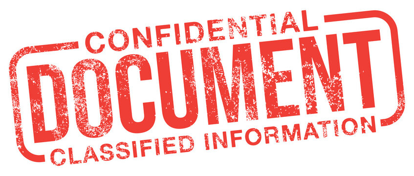 Document. Confidential and Classified Information. Red Rubber Stamp.