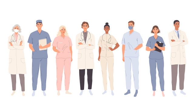 Doctors, medical students workers, medics and nurses. Representatives of different medical specialties