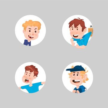 Set of boys avatars cute characters flat style.
