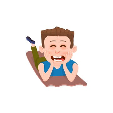The boy is happy and laughing lies on the rugs. Flat style cartoon character.