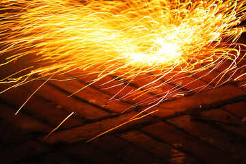 Sparks from the fireworks on the street