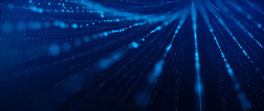 Network connection concept. Internet Communication Big data, Technology Blue Background. 3d rendering.