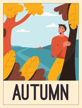 Vector poster of Autumn concept. Happy man enjoying nature