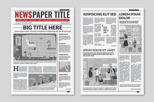 Newspaper layout. News column articles newsprint magazine design. Brochure newspaper sheets. Editorial journal vector template