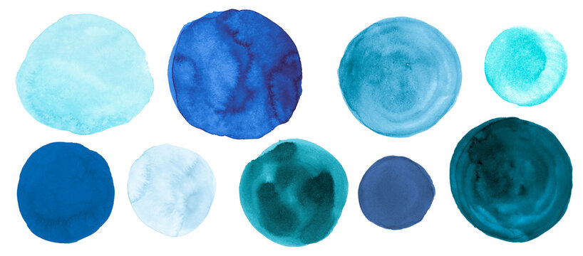 Teal Watercolor Circle. Isolated Hand Paint Dots on Paper. Sea Ink Drops Illustration. Grunge Watercolor Circle. Navy Abstract Splash Template. Blue Rounds. Fresh Watercolor Circle.